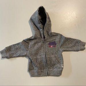 Baby Roots grey zip-up hoodie